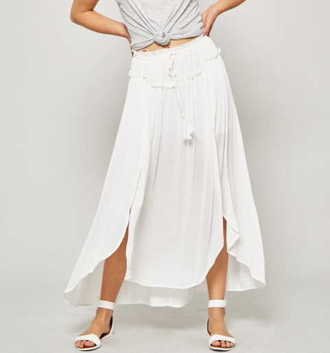 Woven Maxi Skirt With Tassel Trim