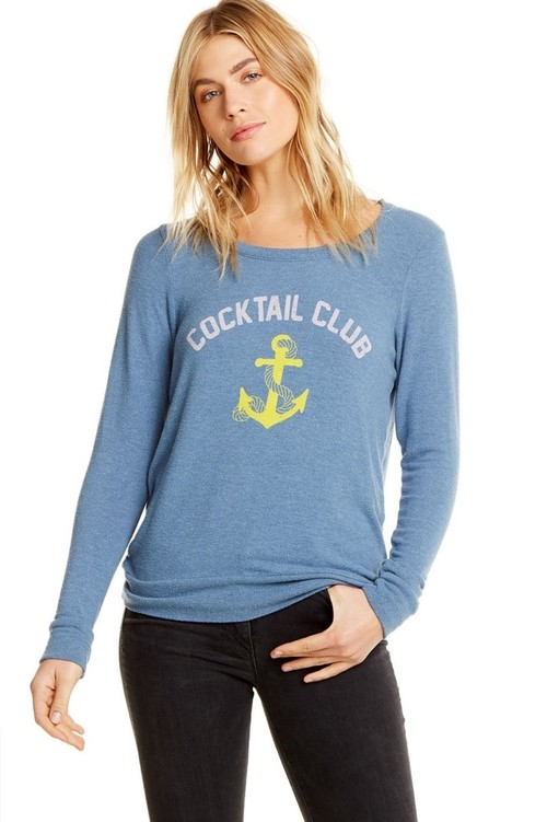 Cocktail Club Long Sleeve Pullover Blue