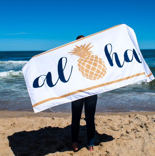 Aloha Giant Beach Towel- White
