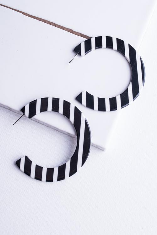 Black & White Striped Acrylic Hoop