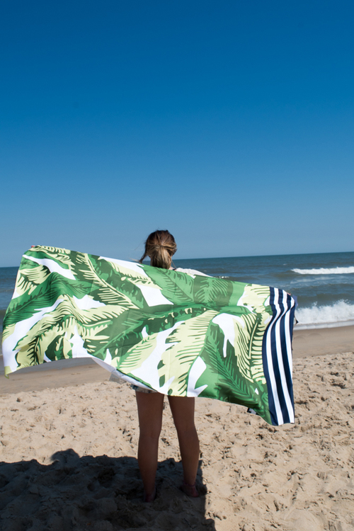 Maui Palm Giant Beach Towel- Green