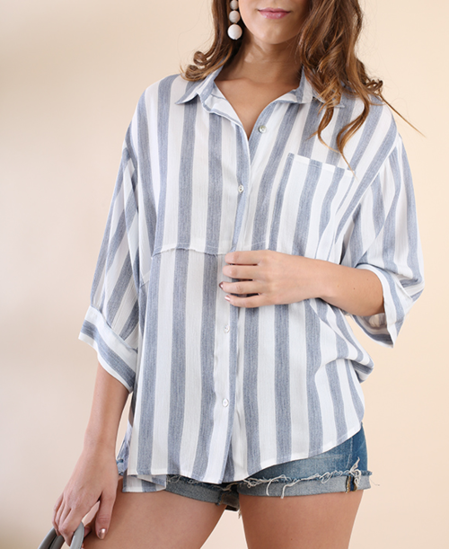 Striped 3/4 Sleeve Button Up Tunic