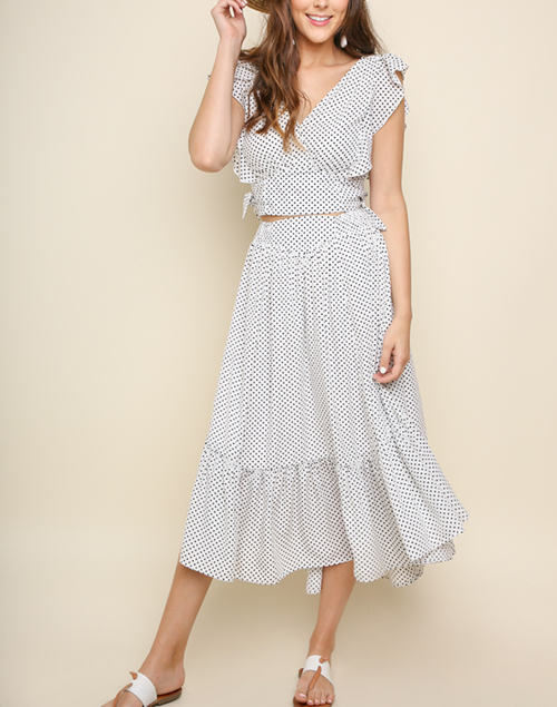 Polka Dot Ruffled Crop Top and Ruffled Trim Midi Skirt Set