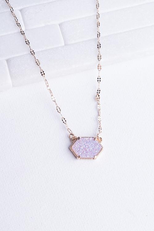 Hex Druzy Simple Necklace