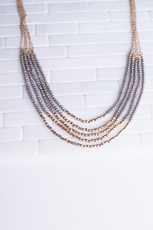Grey & Gold Beaded Layered Necklace