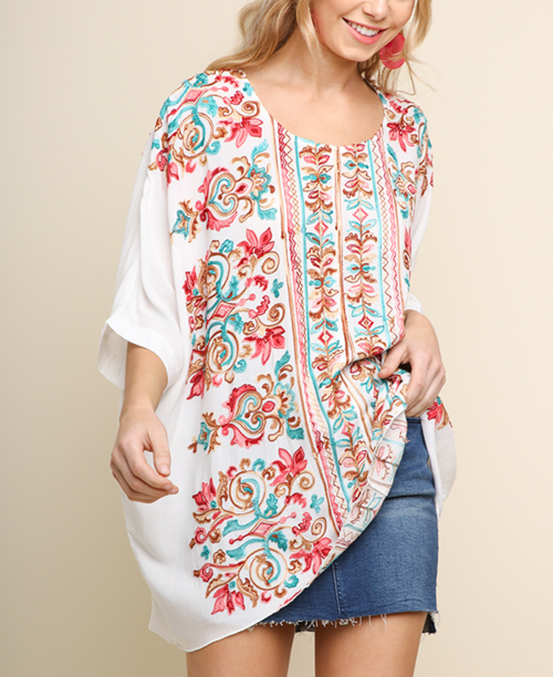 Multicolored Floral Embroidered Dolman Sleeve Scoop Neck Top