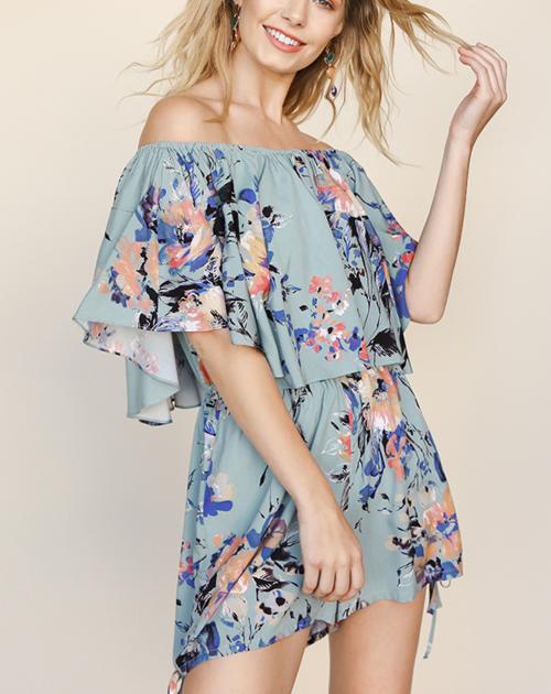 Floral Print Off Shoulder Fold-Over Ropmer With Side Drawstring Detail