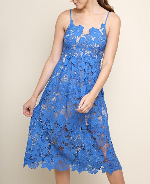 Floral Lace Applique Spghettie Strap Midi Dress