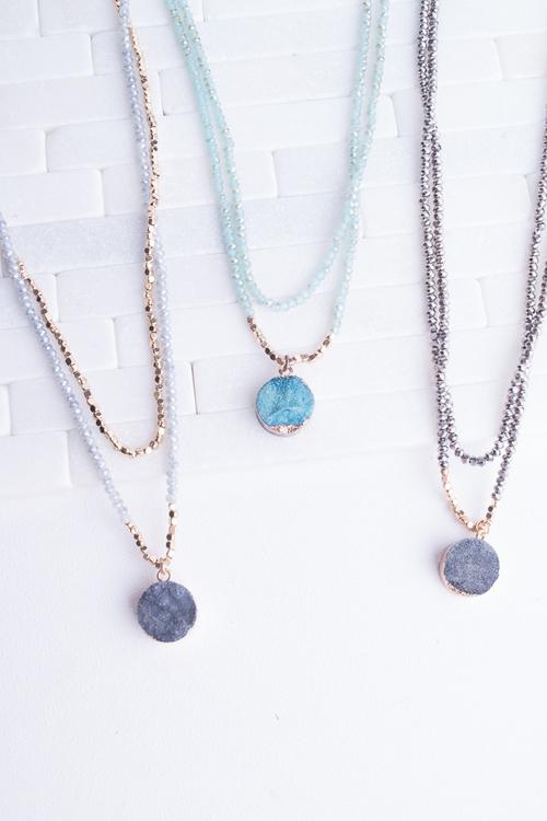 Beaded Layered Druzy Necklace