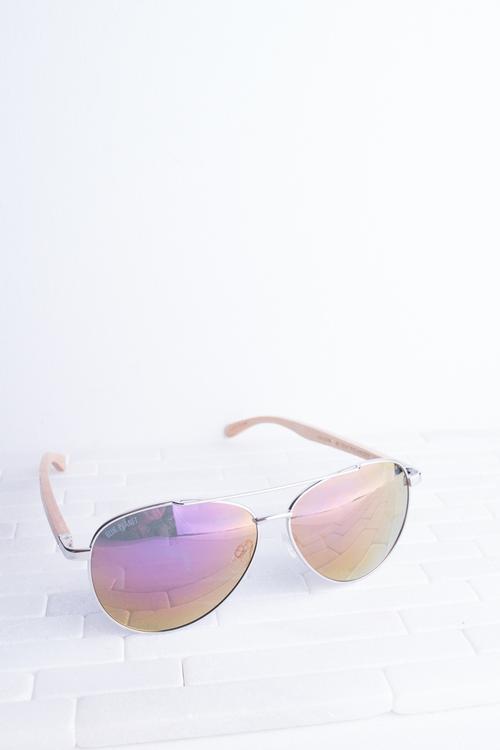Amador Silver Rose Lens Sunglass
