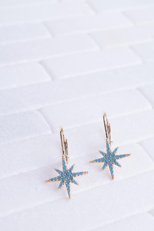 Turquoise Starburst Leaver Dangle