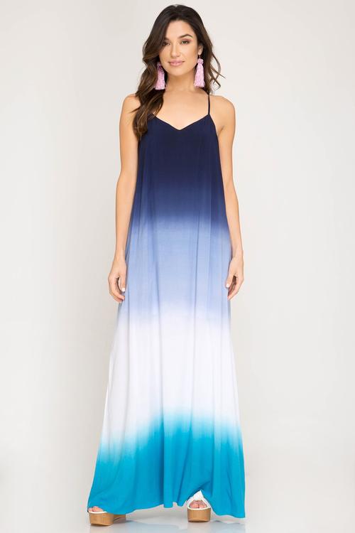 Spaghetti Strap Ombre Dip Dye Maxi Dress