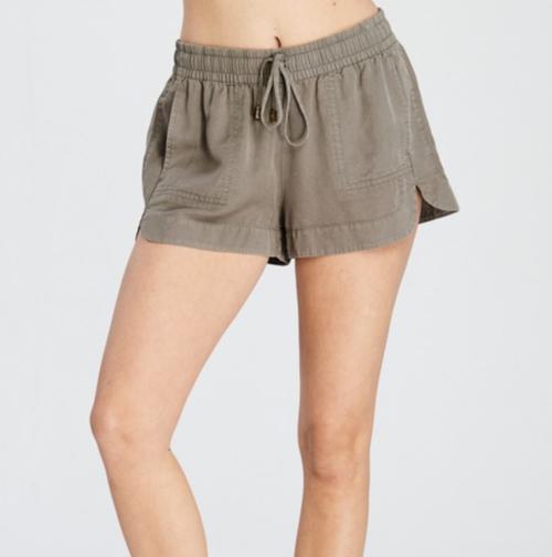 Tencel Drawstring Mini Shorts