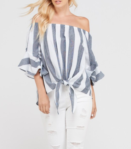 Off Shoulder Bell Sleeve Striped Top