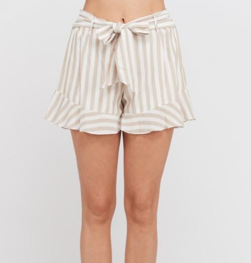 Striped Belted Ruffle Hem Mini Short