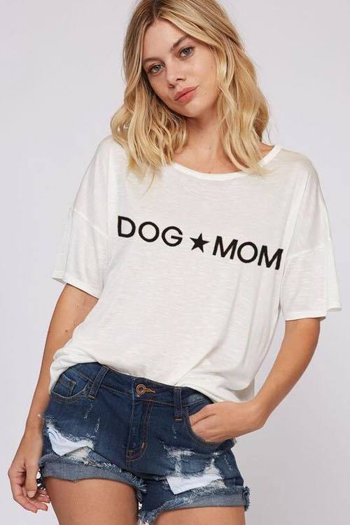 Off White Dog Mom Short Sleeve Top