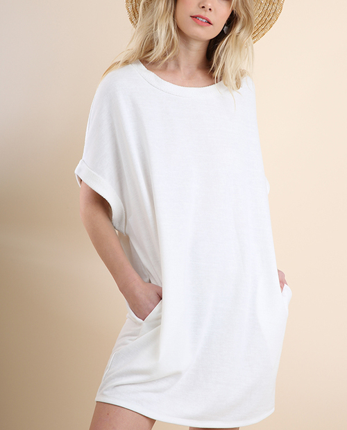 French Terry Pocket Dress with Cuffed Sleeves