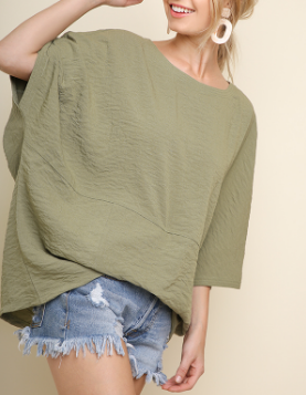 3/4 Dolman Sleeve Top With Tucked Center Waist Detail