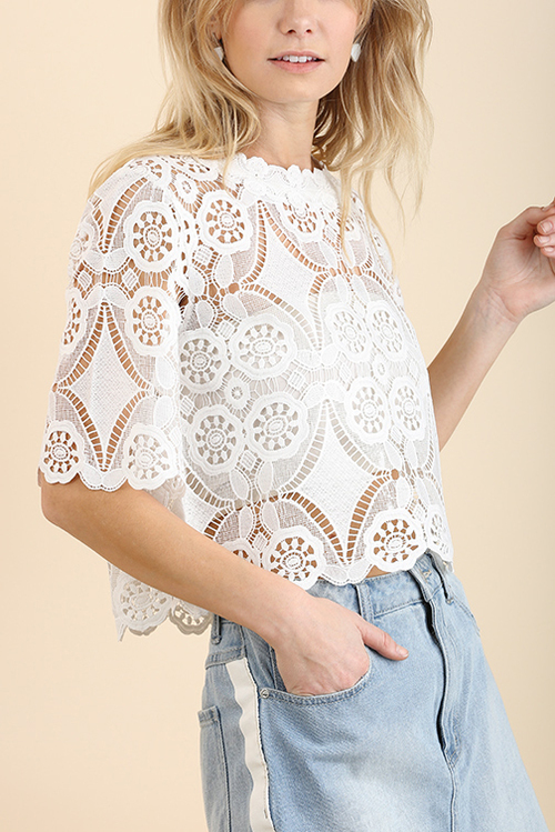 Elbow Length Unlined Crochet Lace Crop Top