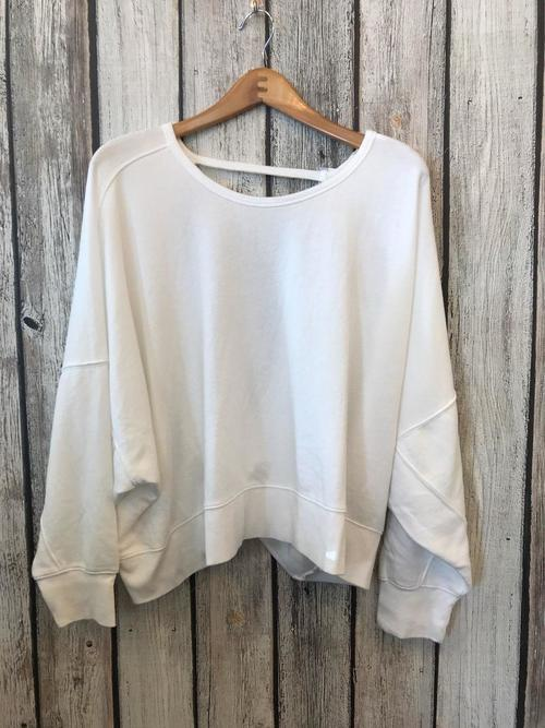 White French Terry Oversized Pullover Open Back