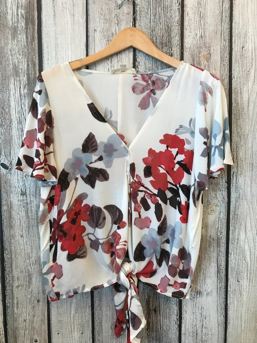 Berry/Sky Printed Short Sleeve Button Down Tie Front Top