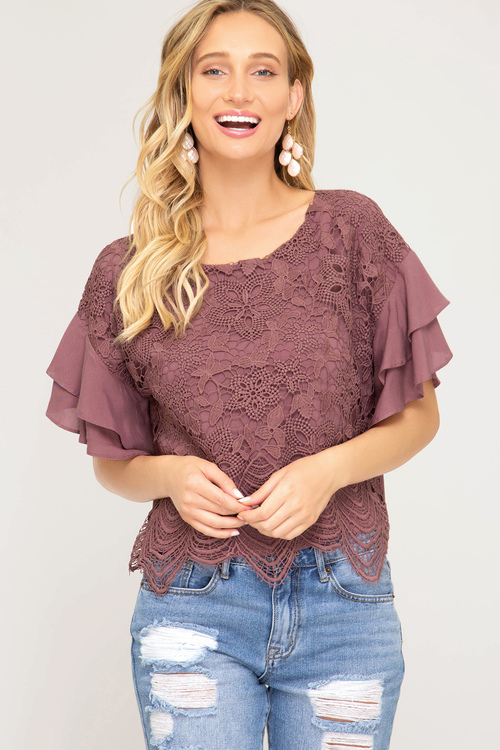 Ruffled Sleeve Woven Top Scalloped Lace Contrast