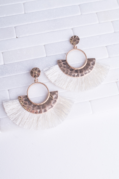 Hammered Cream Fringe Dangle