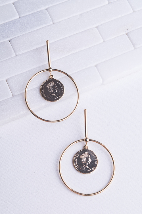 Circle Bar Coin Dangle
