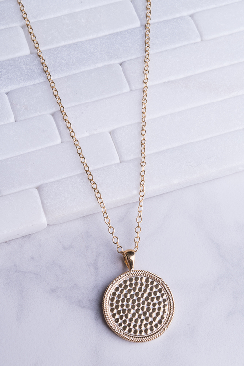 Medallion Necklace Gold 30""