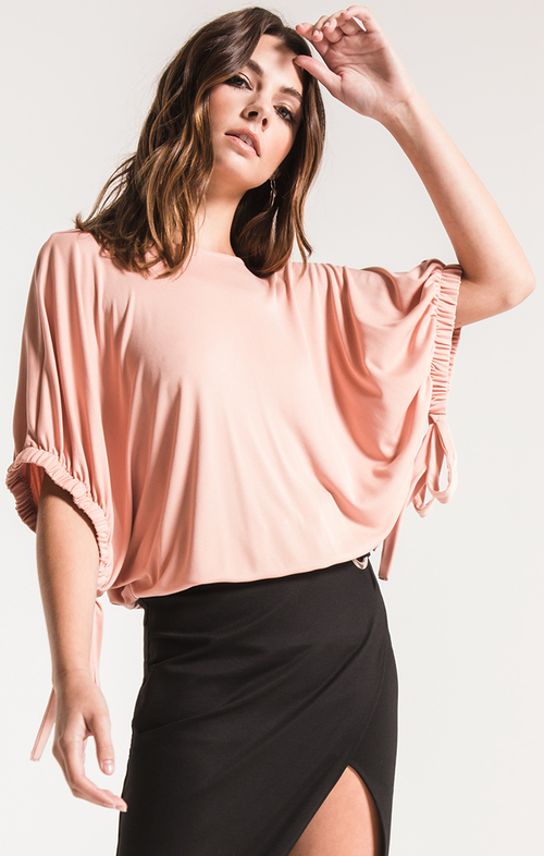 Jillian Blush Elastic Tie Sleeve Top