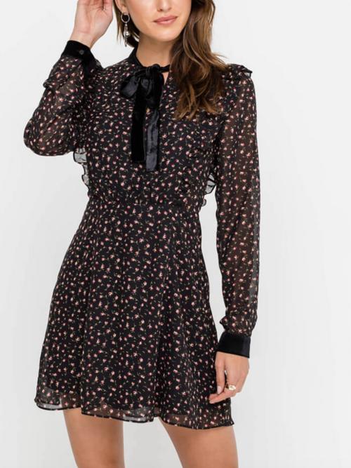 Velvet Sash Neckline Printed Mini Dress