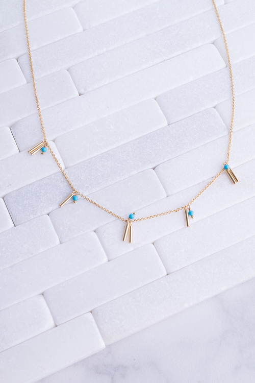 Turq Bead & Spike Necklace