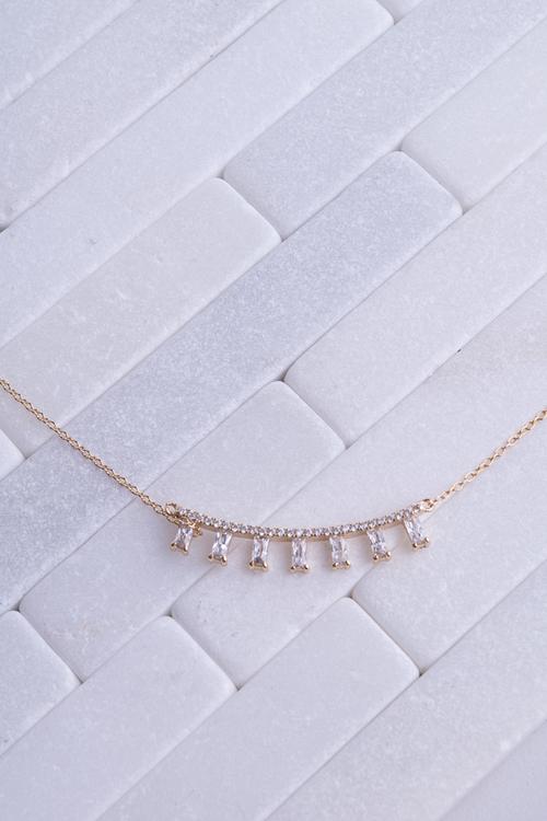CZ Bar Emerald Cut Spike Necklace