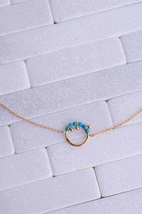 Circle With Turq Bead Choker - 14K Plated