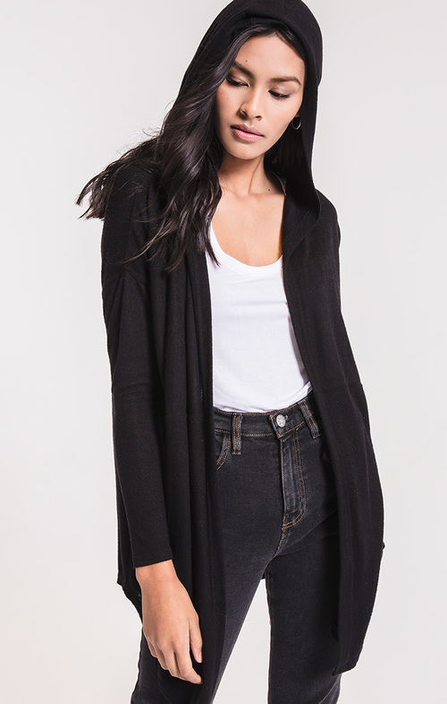 Marled Waterfall Cardigan Black