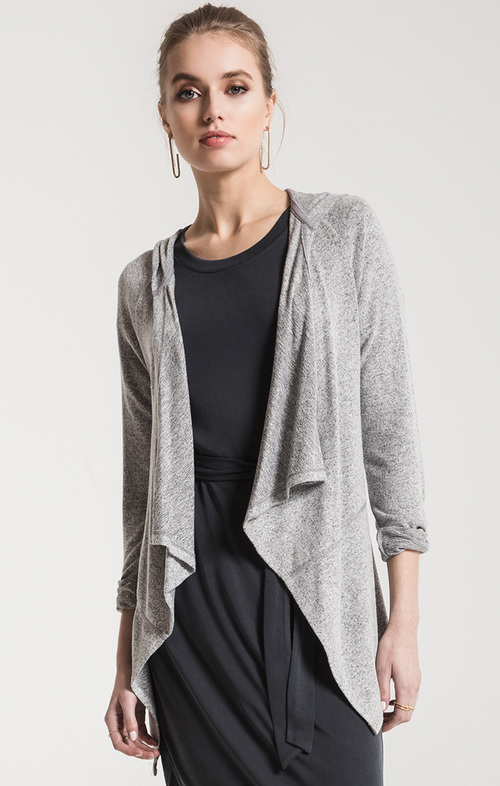 Marled Waterfall Cardigan Heather Grey