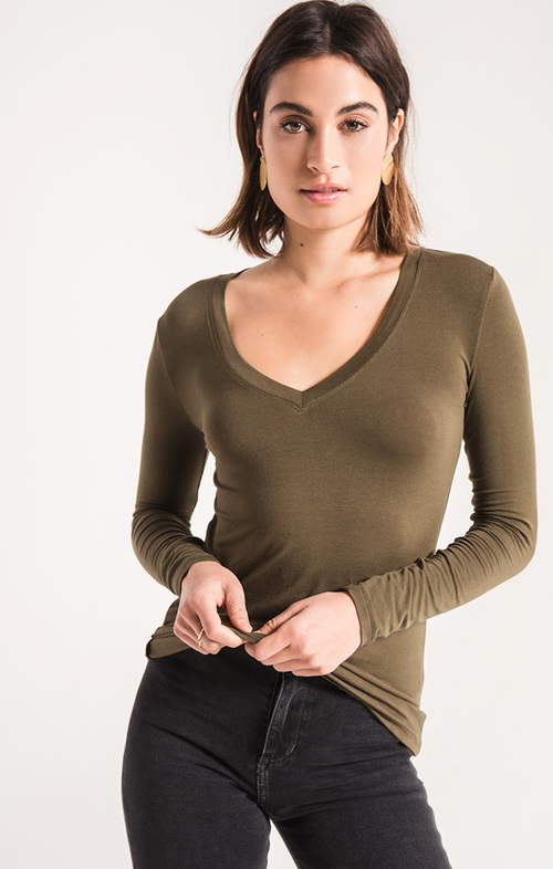 Fitted Long Sleeve V-Neck Tee Olive Night