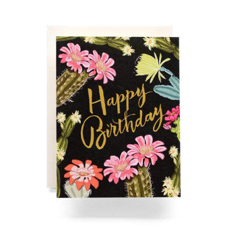 Cactus Blooms Birthday Greeting Card