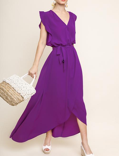 Sleeveless Wrap Maxi Dress W/ Waist Tie