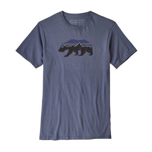 Patagonia M Fitz Roy Bear Organic T-Shirt Dolomite Blue