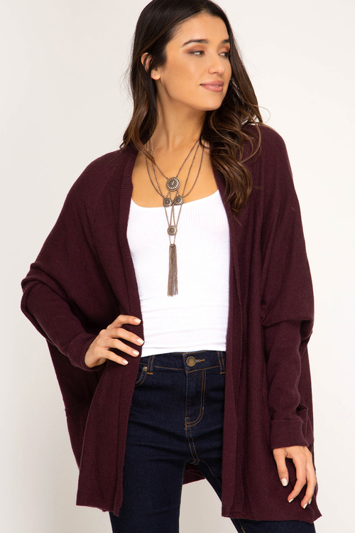 Long Sleeve Open Sweater Cardigan with Pockets