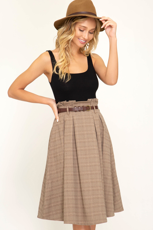 Paper Bag Plaid Midi Skirt