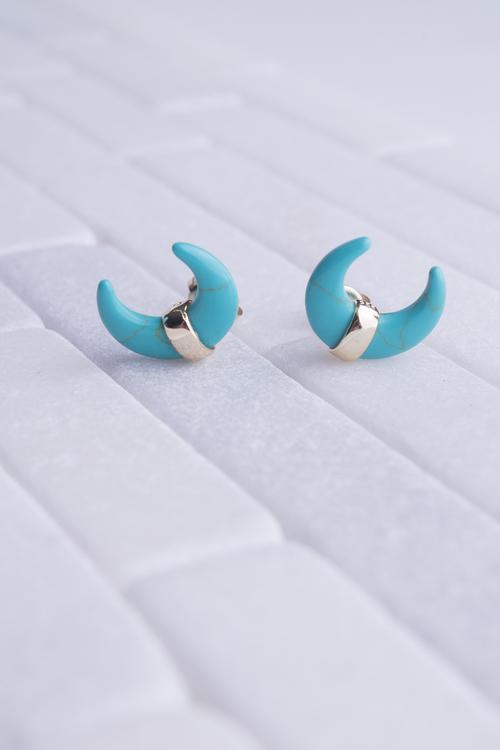 Turquoise Crescent Stud
