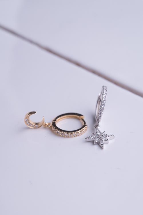 Moon & Star Mini Hoop