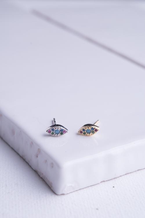 Colored Stone Evil Eye Stud