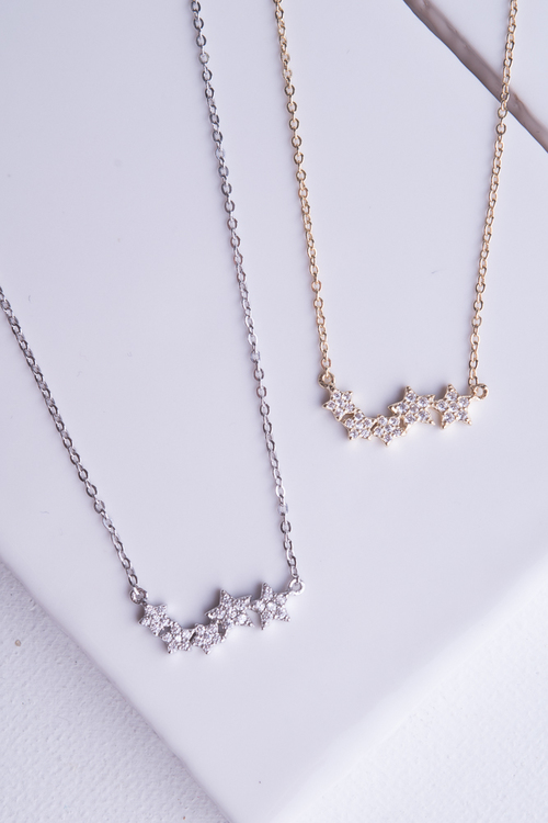CZ Star Bar Necklace