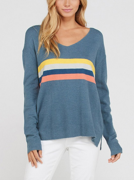 Long Sleeve Multi Color Striped Sweater