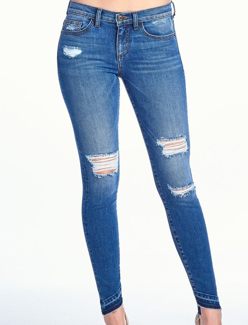 Distressed Mid Rise Angle Bottom Skinny