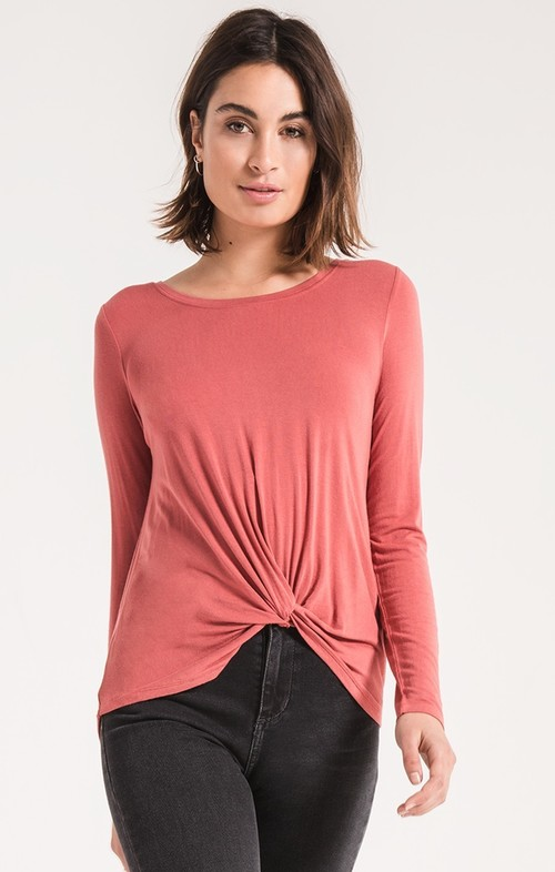 Mineral Red Twist Front Long Sleeve Tee