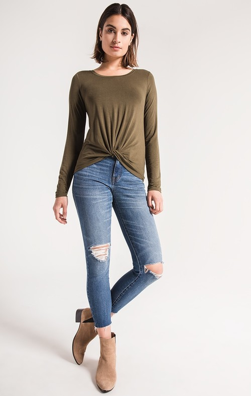 Olive Night Twist Front Long Sleeve Tee